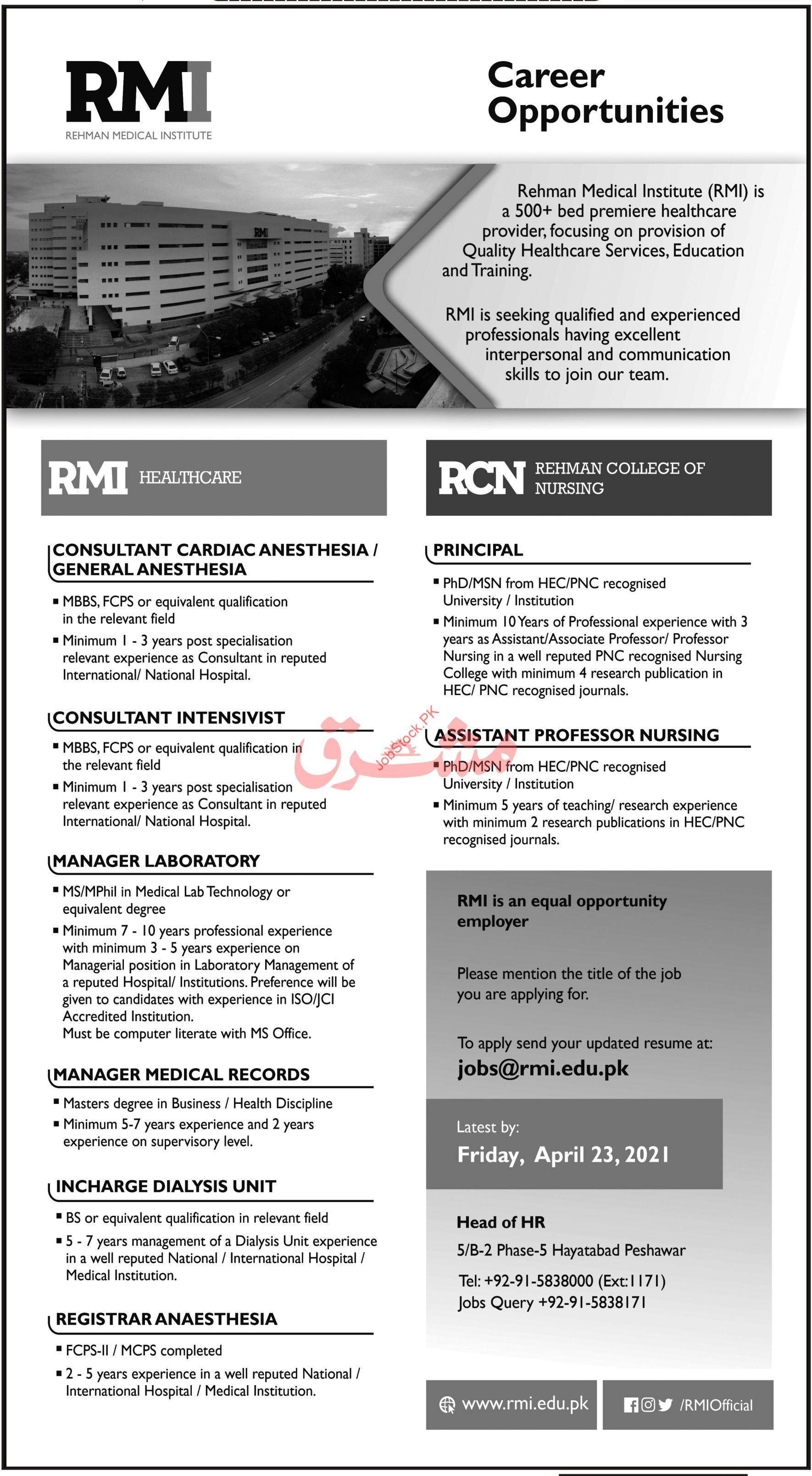 Rehman Medical Institute Rmi Jobs 2021