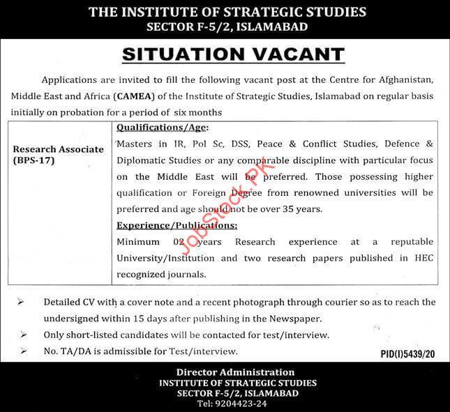 Research Associate Jobs In Islamabad Institute Of Strategic Studies Islamabad