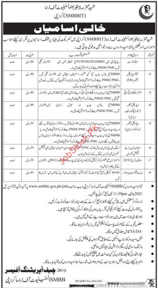 Smbbit Karachi Jobs 2021 Medical Jobs In Karachi
