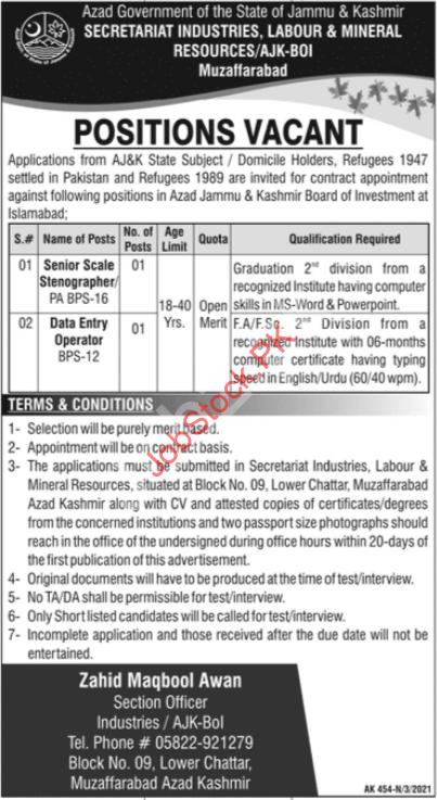 Secretariat Industries Labour & Mineral Resources Resource Jobs 2021