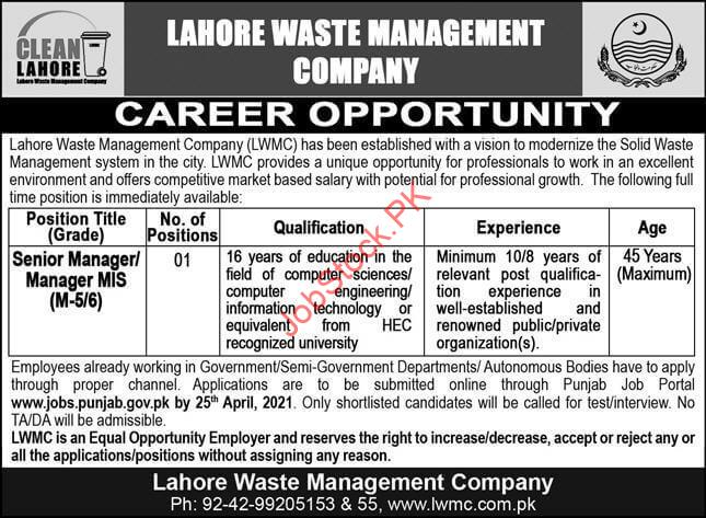 Senior Management Jobs In Lahore 2021 Senior Manager Mis In Lahore Waste Management Company Lwmc