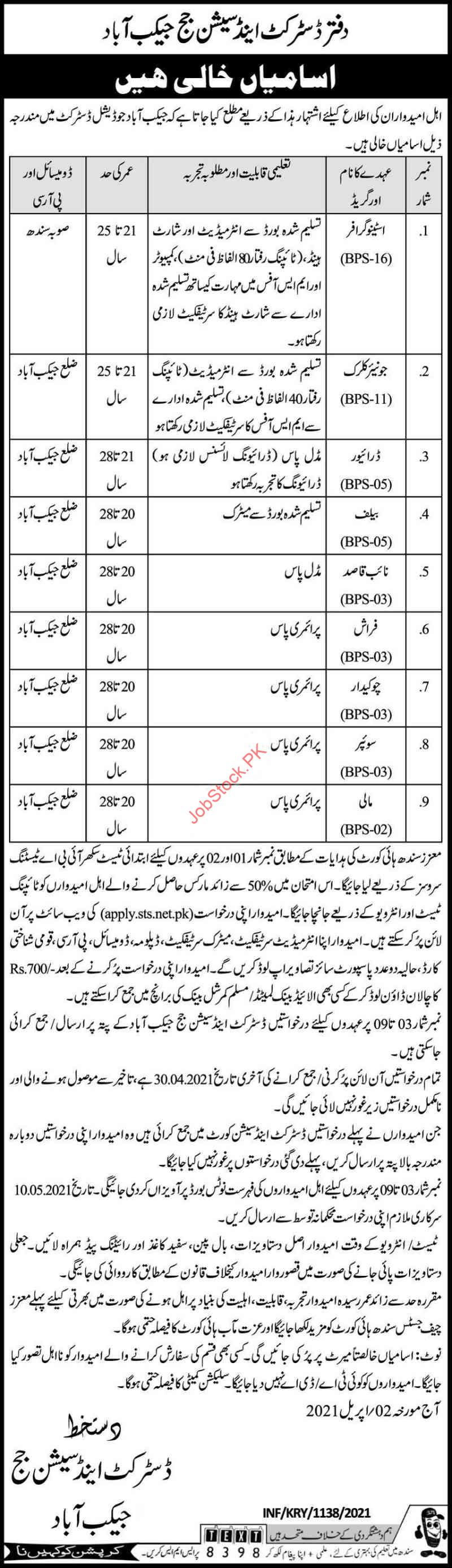 Session Court Jacobabad Jobs