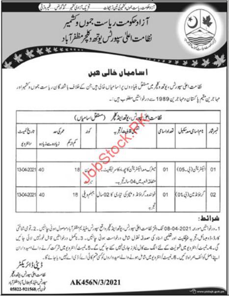 Sports Youth & Culture Department Muzaffarabad Ajk Jobs 2021