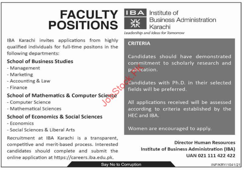 Teaching Jobs At Iba Karachi Iba Karachi Jobs