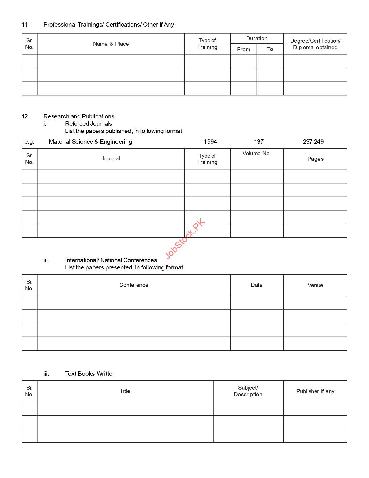Bzu Jobs Application Form Page 2