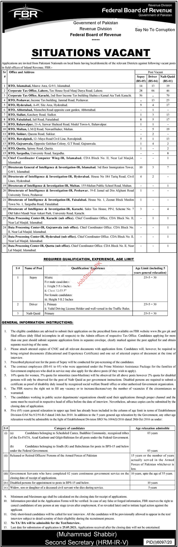 Federal Board Of Revenue Fbr Jobs 2021 Advertisement In Newspaper Pdf Www.fbr.gov.pk Jobs 2021