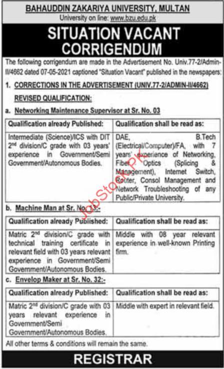 Latest Bahauddin Zakariya University Multan Bzu Education & Management Posts Multan 2021 Corrigendum