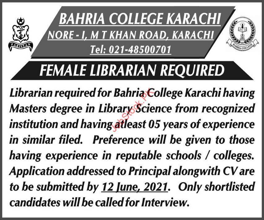 Latest Bahria College Education Posts Karachi 2021