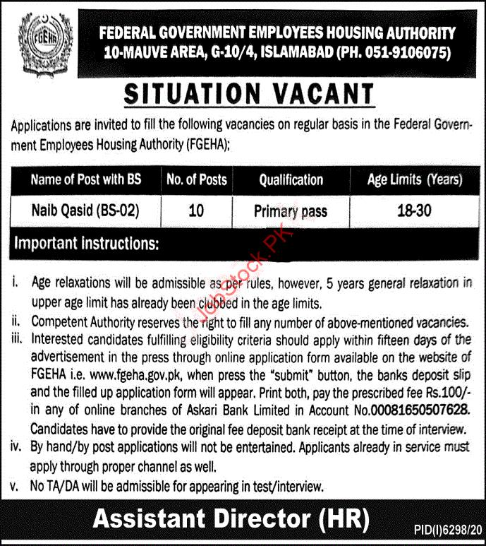Latest Federal Government Employees Housing Foundation Human Resource Posts Islamabad 2021