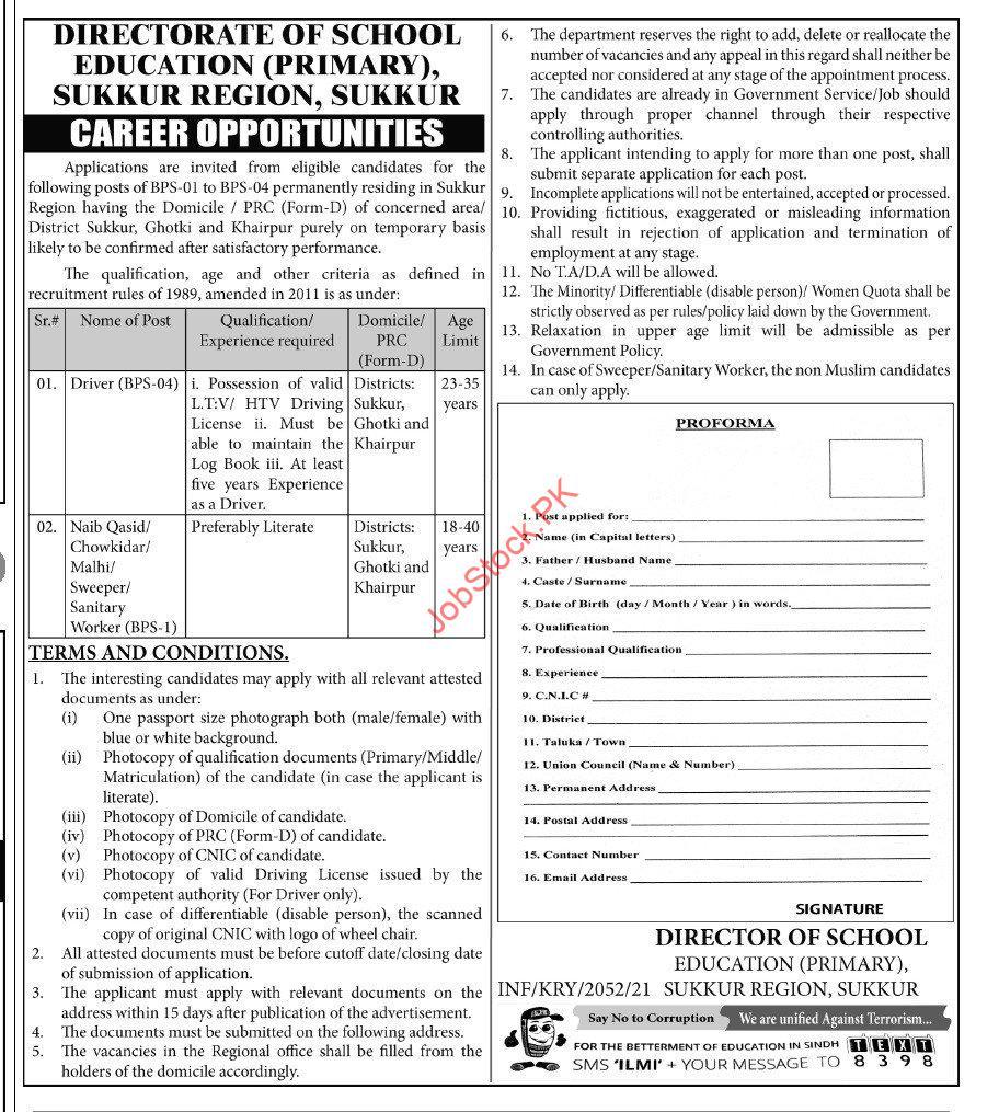 Latest School Education Department Education Posts Sukkur 2021
