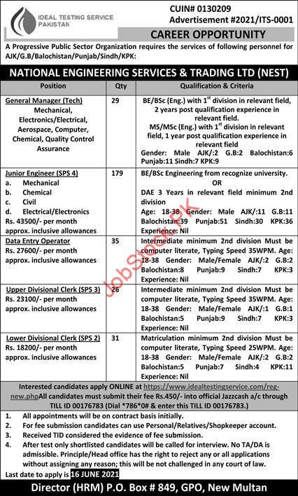 National Engineering Services And Trading Limited Jobs Nest Pakistan Advertisement