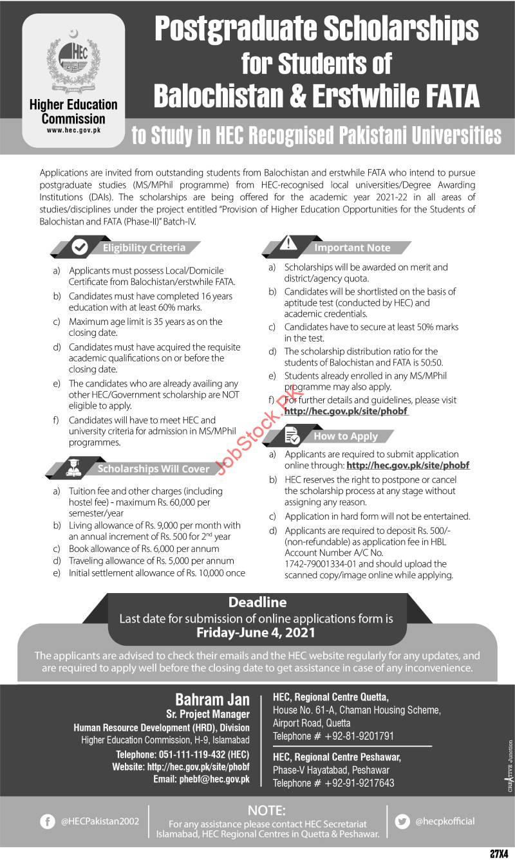 Postgraduate Scholarships To Study In Hec Recognized Pakistani Universities Advertisement Image