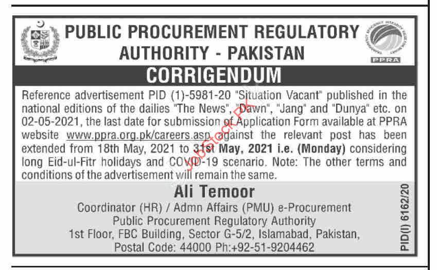 Public Procurement Regulatory Authority Jobs Ppra Punjab Jobs 2021 Corrigendum
