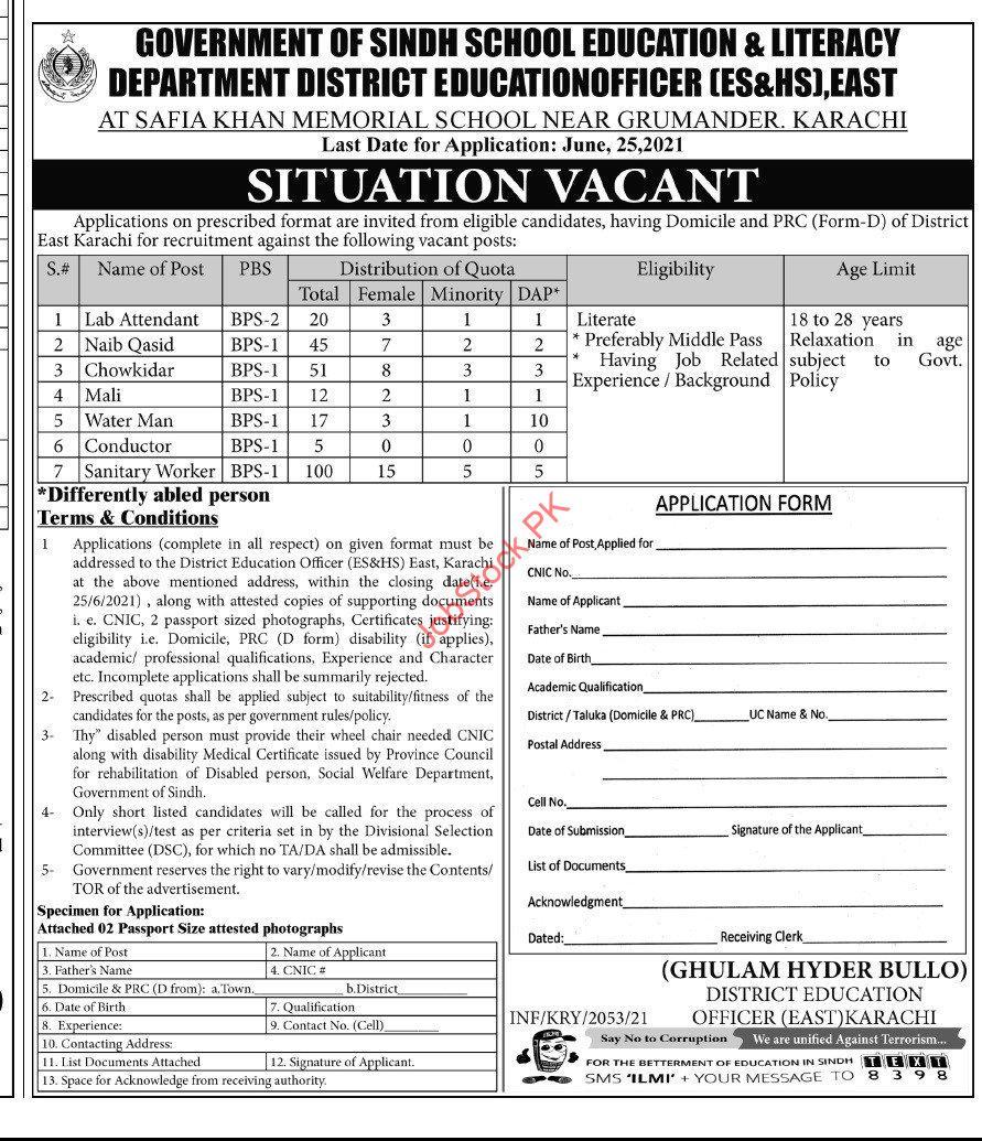 School Education And Literacy Department Karachi Jobs 2021 Advertisement