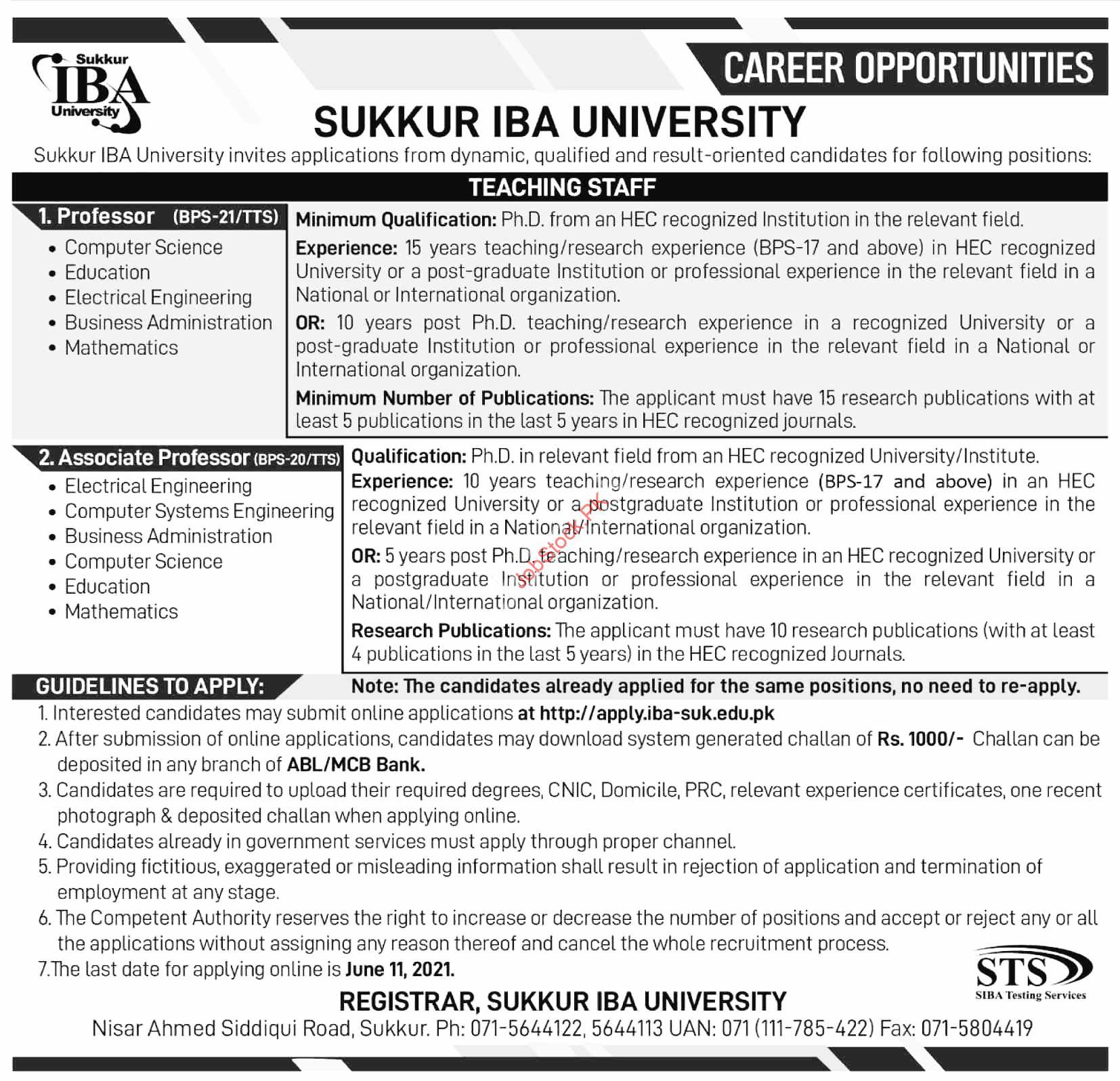 Sukkur Iba University Teaching Staff Jobs 2021 Advertisement