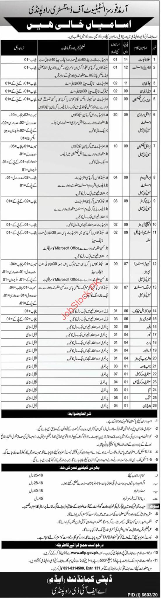 Afip Afid Rawalpindi Jobs 2021 Newspaper Advertisement Afip.org.pk Jobs