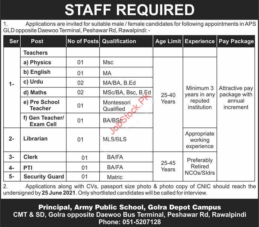 Army Public School Advertisement