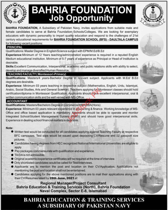 Bahria Foundation Jobs 2021 Latest Advertisement