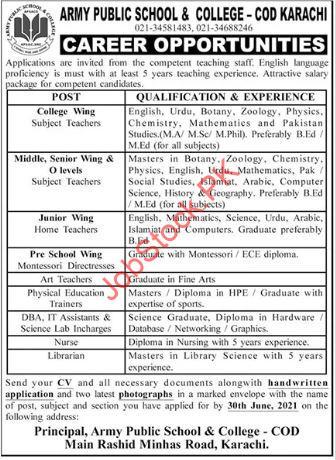 Cod Karachi Jobs 2021 Army Public School & College