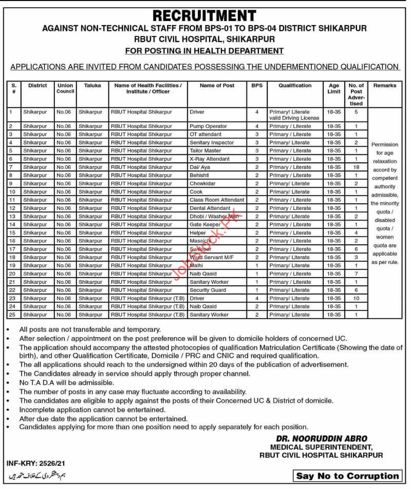 Civil Hospital Shikarpur Jobs 2021 Newspaper Advertisement June 2021