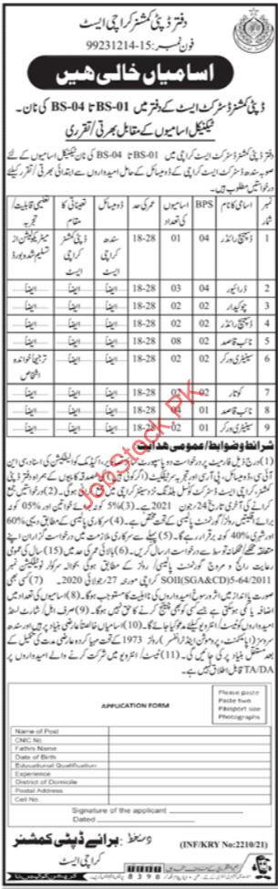 Deputy Commissioner Karachi Jobs 2021 Advertisement & Application Form