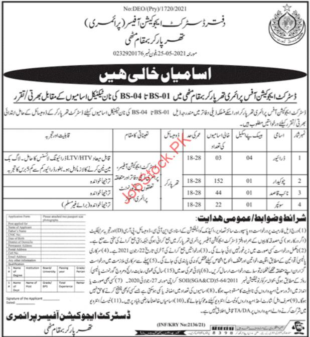 District Education Office Primary Tharparkar Jobs Newspaper Advertisement And Application Form