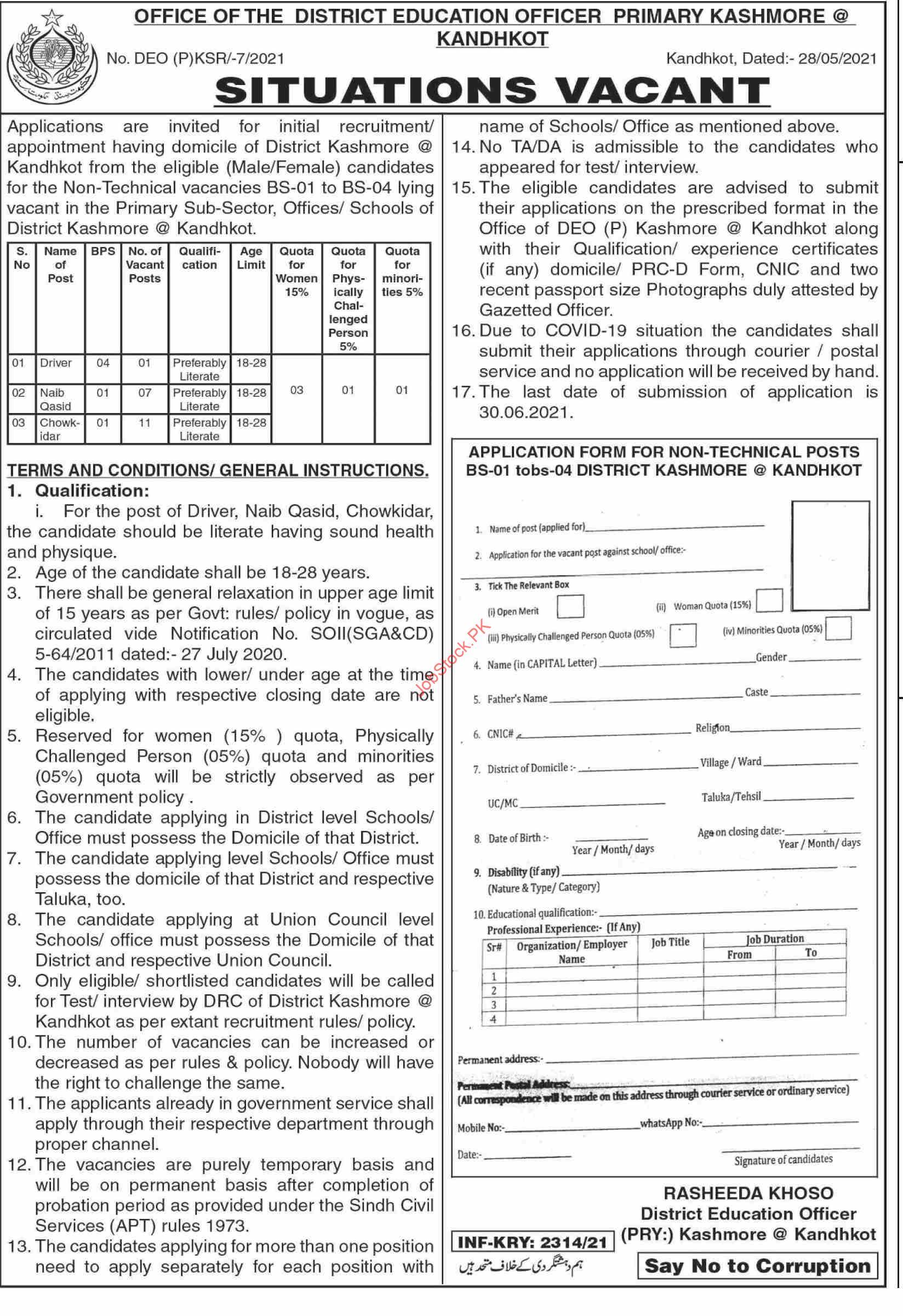 Education Department Kashmore Kandhkot Jobs 2021 Latest