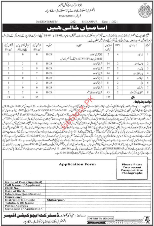 Elementary Secondary & Higher Secondary Shikarpur Jobs Advertisement & Application Form
