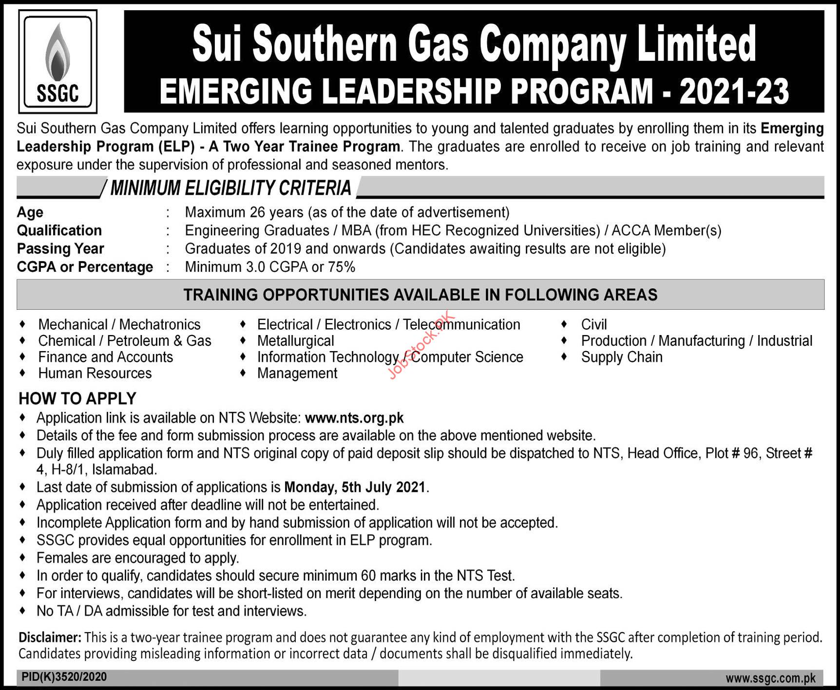 Emerging Leadership Program In Sui Southern Gas Company Ltd Ssgcl 2021 Nts Online Apply