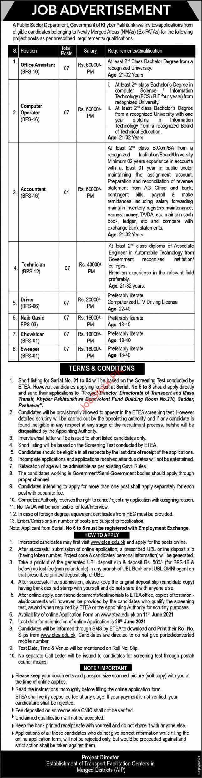 Government Jobs In Kpk June 2021 Etea Jobs 2021 Advertisement
