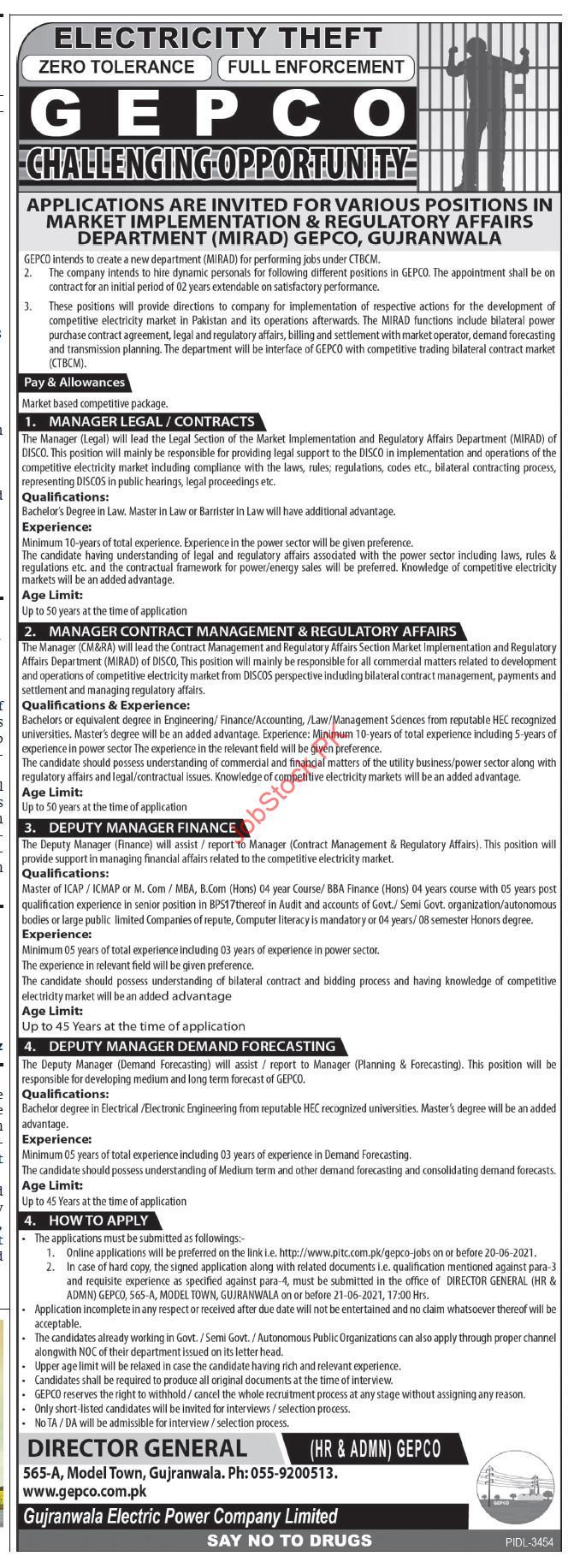 Gujranwala Electric Power Company Jobs Gepco Jobs 2021 Gujranwala Advertisement