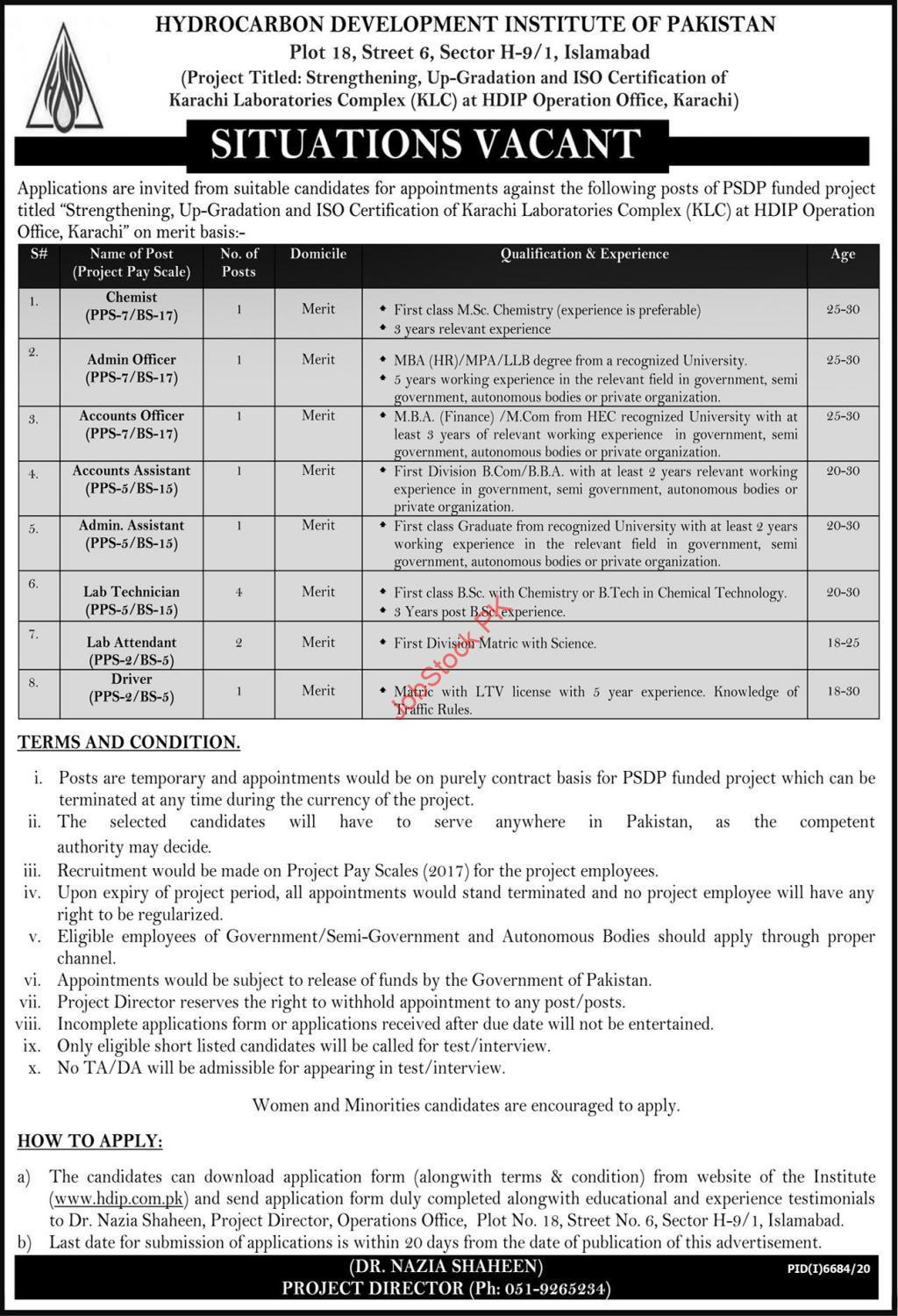 Hydrocarbon Development Institute Of Pakistan Jobs 2020 Application Form Download