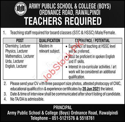 Job Vacancies In Army Public School Rawalpindi