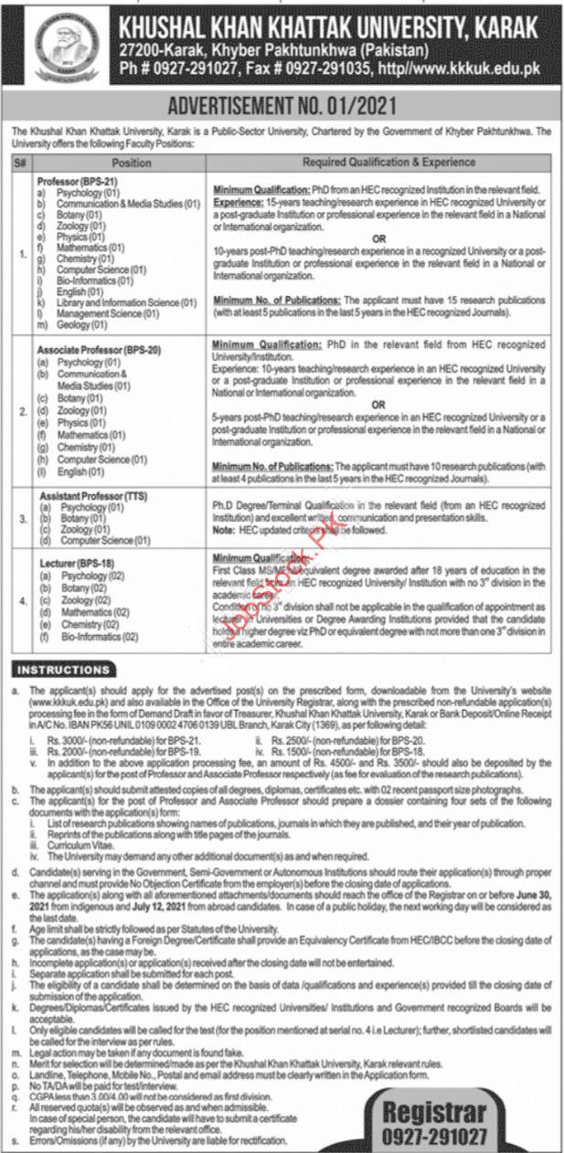 Khushal Khan Khattak University Karak Jobs 2021 Latest Advertisement