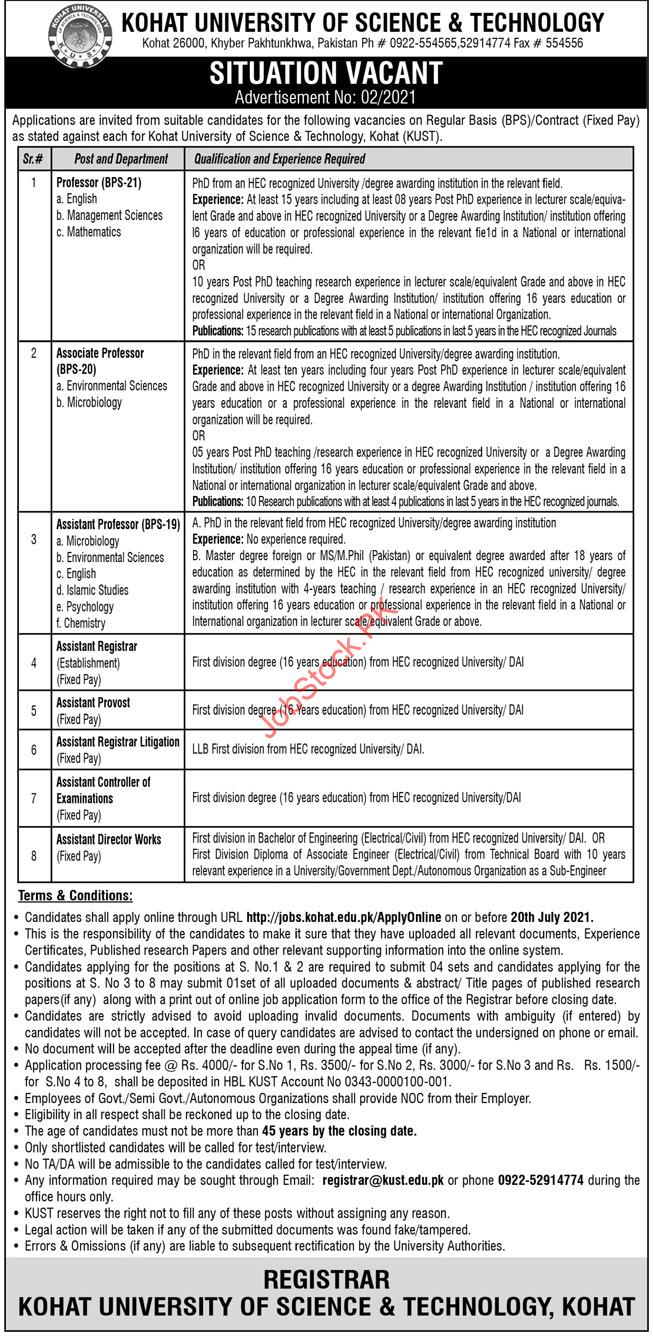 Kohat University Of Science And Technology Jobs Advertisement