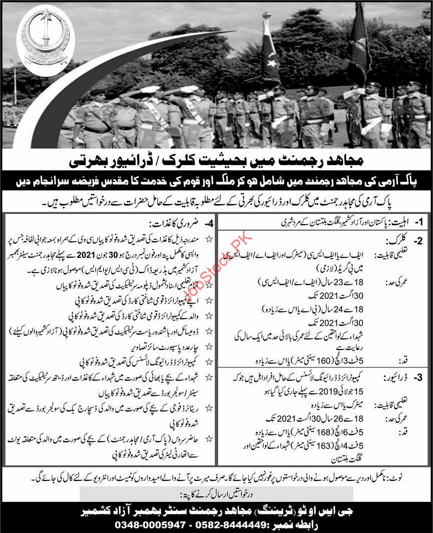 Mujahid Force Jobs 2021 Clerk Driver