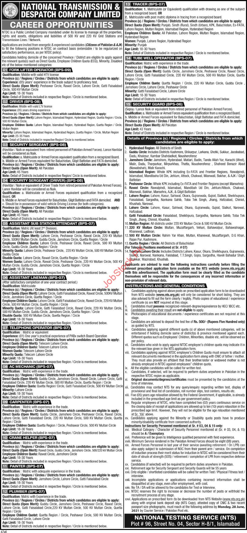 National Transmission & Despatch Company (bps 06 To Bps 09 Positions)