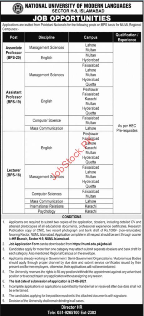 National University Of Modern Languages Numl Jobs 2021 Advertisement