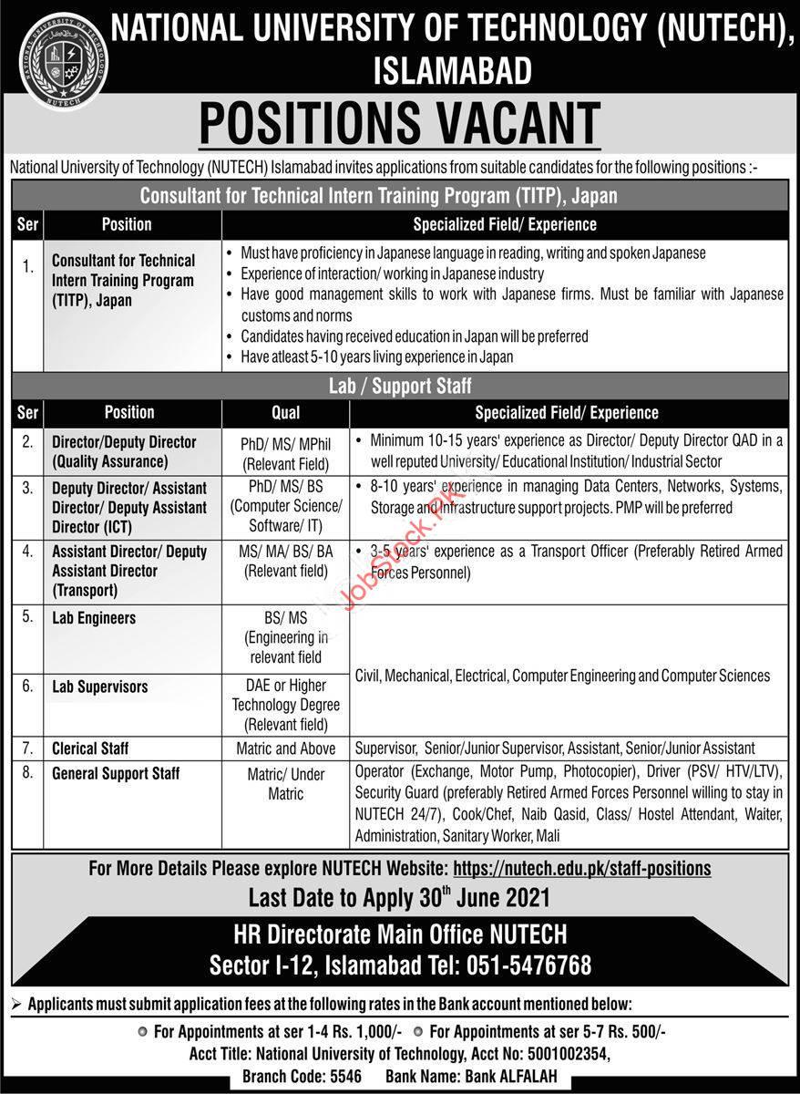 National University Of Technology Nutech Islamabad Jobs 2021 June Newspaper Advertisement
