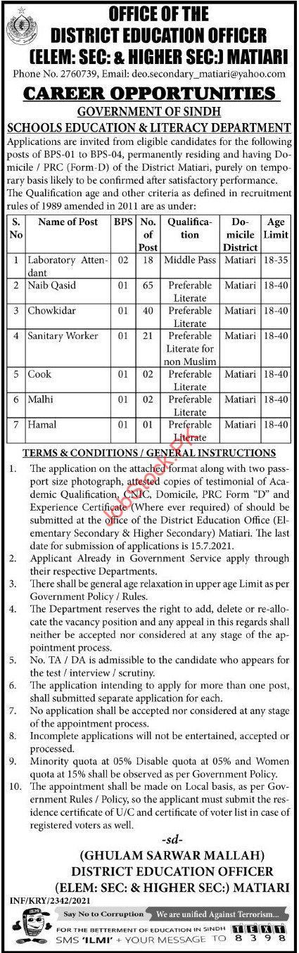 New Vacancy In Sindh Matiari 2021 Matiari Jobs Ad