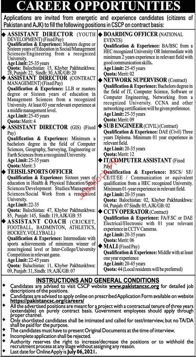 Pakistan Community Sports Council Jobs 2021 Advertisement