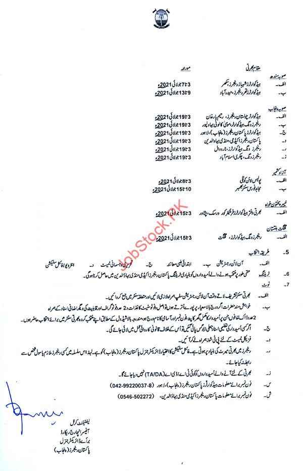 Pakistan Rangers Jobs 2021 Advertisement Page 02