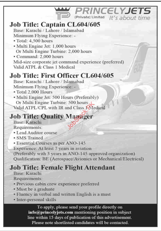 Princely Jets Careers Jobs In Karachi Lahore Islamabad Advertisement