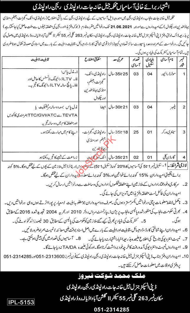 Punjab Police Jail Khana Jat Jobs 2021 Advertisement