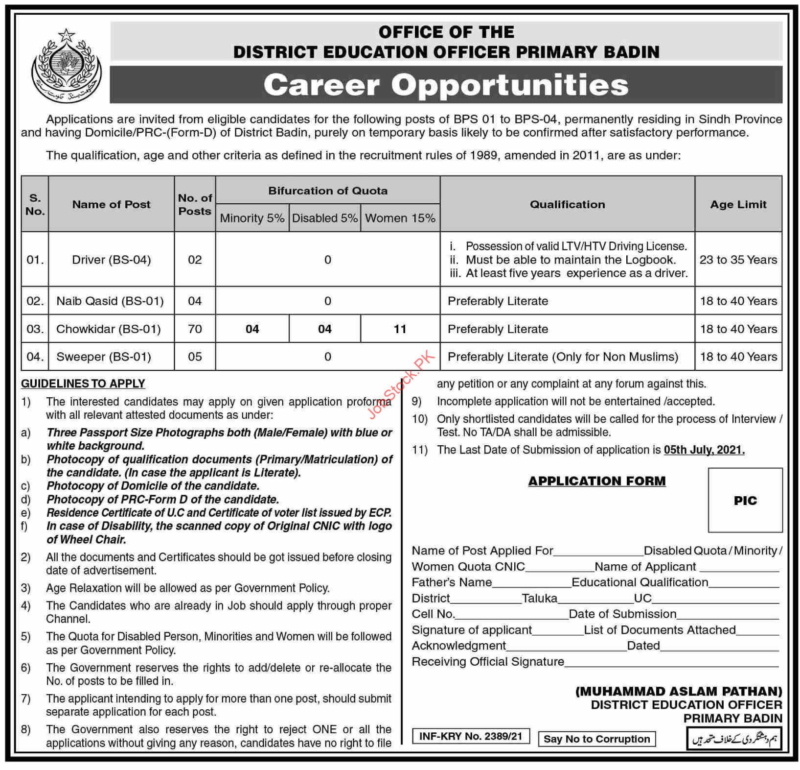 Sindh Education Department Primary Badin Jobs 2021