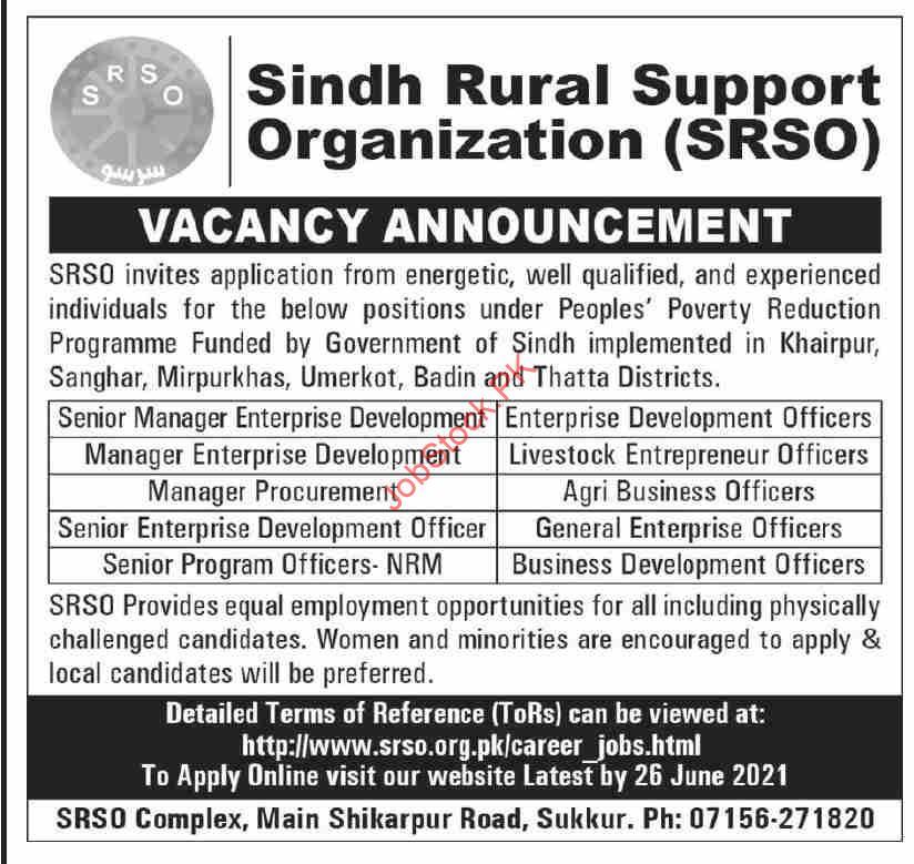 Sindh Rural Support Organization Sukkur Srso Jobs 2021