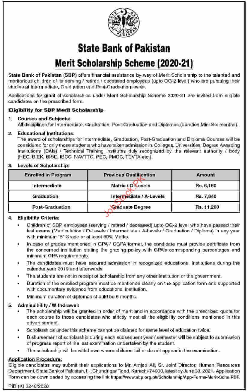 State Bank Of Pakistan Scholarship 2021 Advertisement