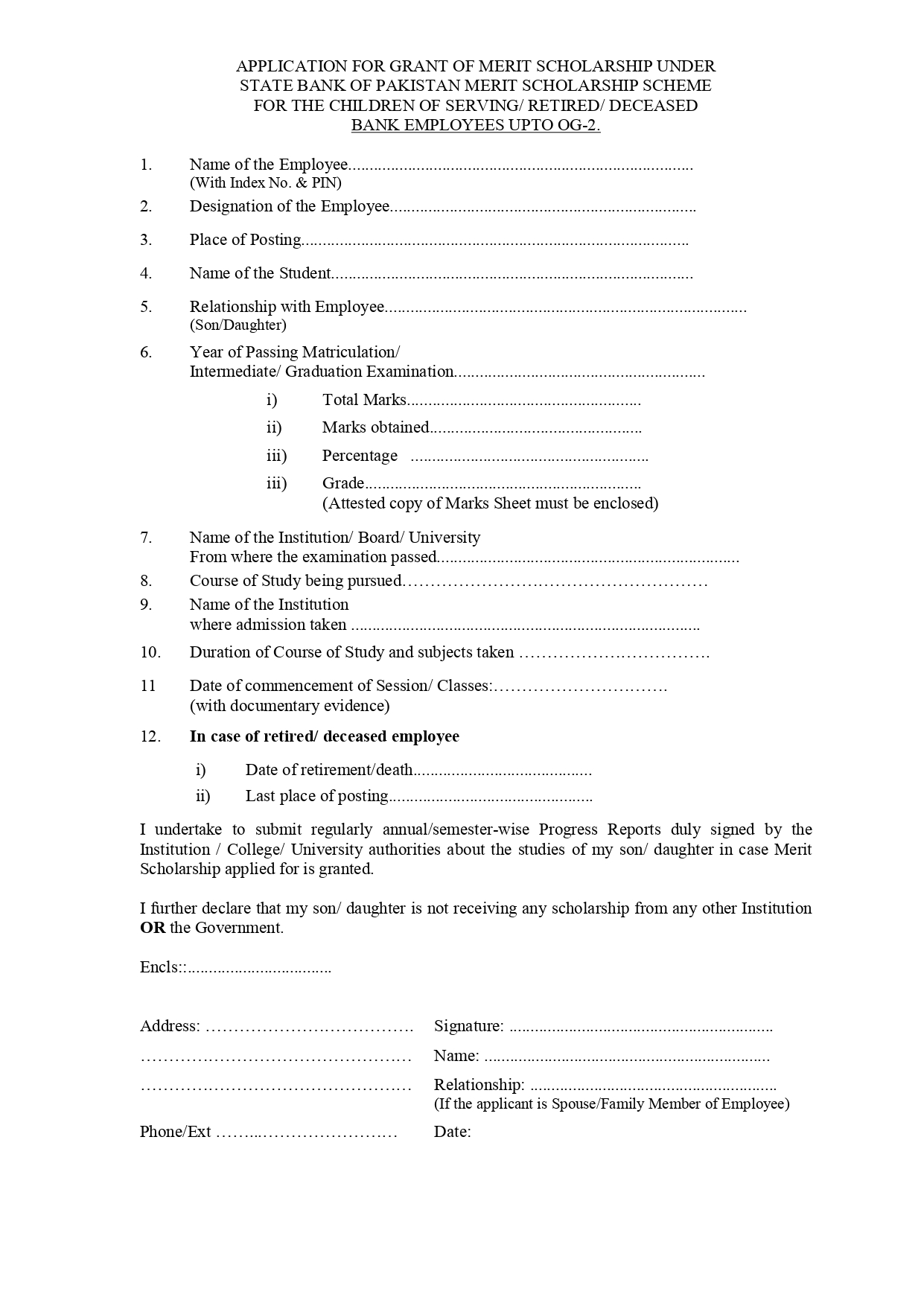 State Bank Of Pakistan Scholarship 2021 Application Form
