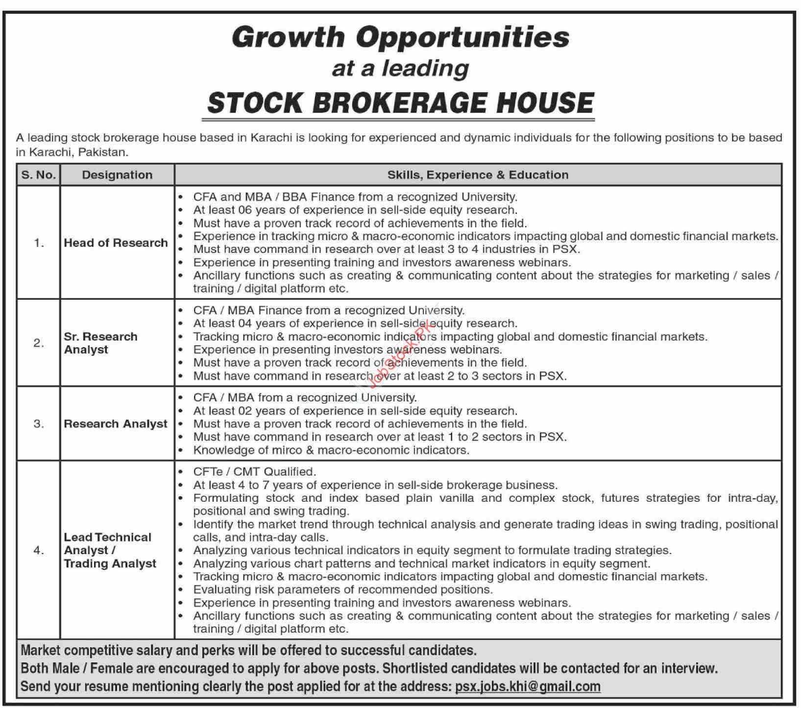 Stock Brokerage House Jobs Stock Exchange Jobs In Karachi 2021 Full Advertisement