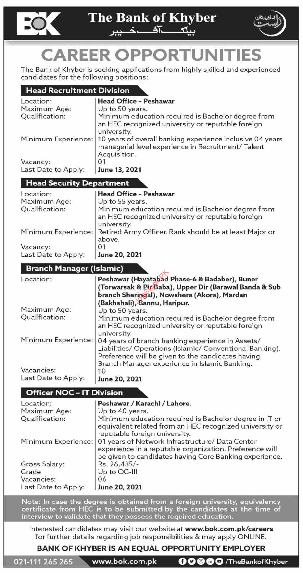 The Bank Of Khyber New Jobs 2021 Latest Advertisement